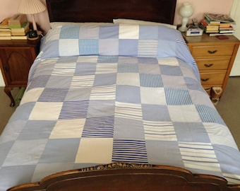 Patchwork Double Duvet Covers Made from Upcycled Quality Cotton Shirts