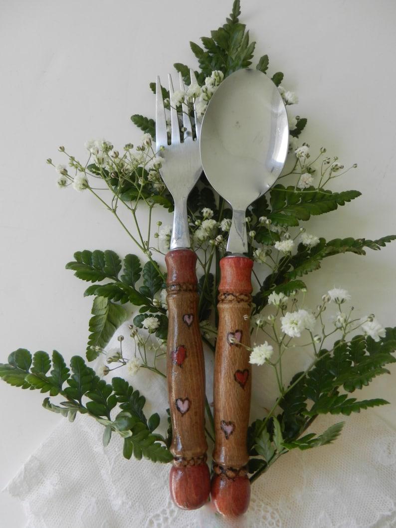 Anniverary vintage wood silverware set