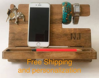 docking station, docking station wood, docking station organizer, phone docking station, phone dock, personalized docking station, stand