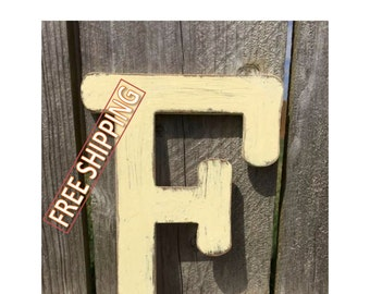 Distressed wooden letter F Gungsuh font Free Shipping! perfect for home decor, wedding decorations, party decorations, and party favors.