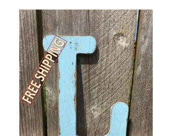 Distressed wooden letter L Gungsuh font Free Shipping! perfect for nursery decor, home decor, wedding decor, party decor, and party favors.