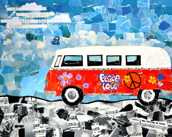 Mixed Media VW Bus Print. 5x7 with matte. Print of original on canvas. Torn paper art. Nursery or Child's room print
