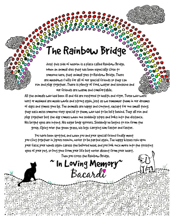 The Rainbow Bridge Poem Personalize This Print With Your Etsy