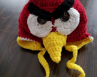 Red   angriest bird earflap hat