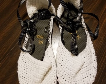 White Espadrilles with Black ribbon ties with flip flop soles
