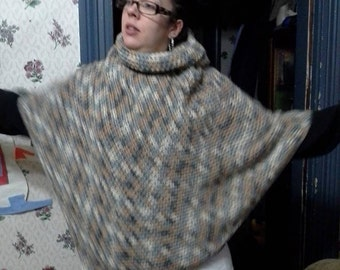Hooded-cowl necked Poncho