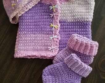 Dragonfly layette set