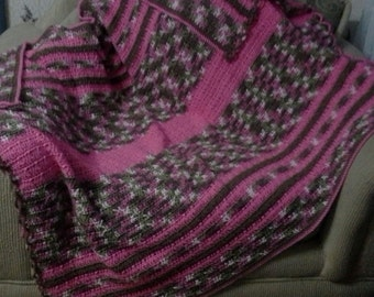 Rose-toned Striped Afghan