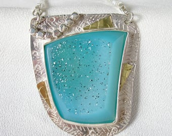 Turquoise Color Druzy Or Drusy Pendant In 18k Gold and Sterling Silver One of A Kind Artisan Design