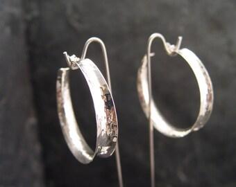 HOOP SHAPE Sterling Silver Large Hoop Earrings