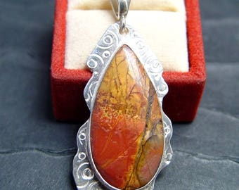 CHERRY CREEK JASPER  Pendant in Sterling Silver Artisan Made One of A Kind Jewelry