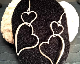 HEART SHAPE DANGLE Sterling Silver Earrings