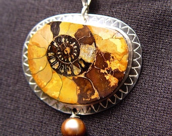 AMMONITE FOSSIL PENDANT Necklace Jewelry Specimen In Stamped Design Sterling Silver 2