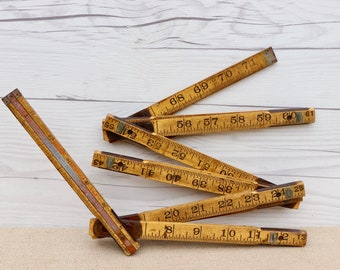 farmhouse decor brass sliding extension ends and edges Vintage folding ruler yellow extension wood ruler extends to 72 rustic