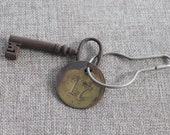 Vintage Metal Skeleton Open Barrel Key with Round Brass Number 17 Tag, Antique Metal Lever Barrel Key with Fob