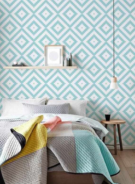 papier peint adhesif diamond pattern wallpaper vinyl wall etsy