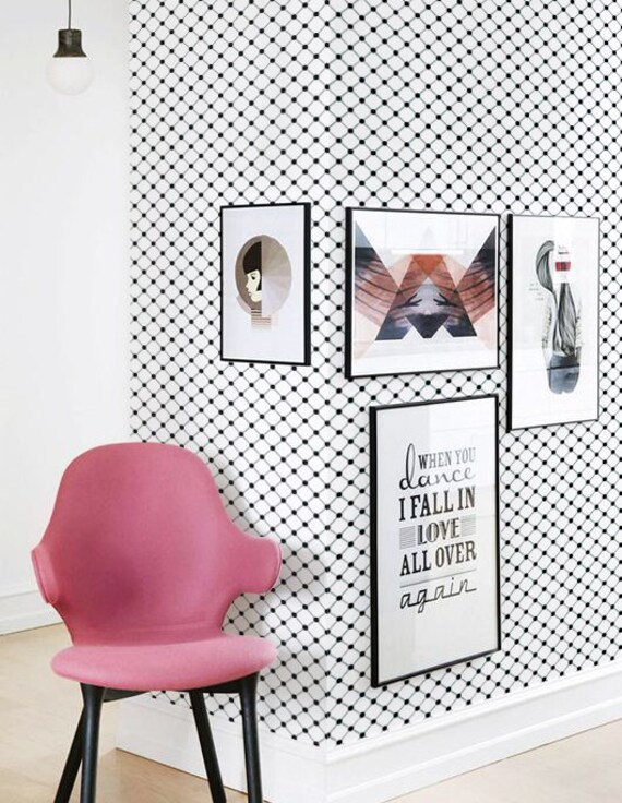 Pattern Wallpaper Black And White Peel And Stick Wallpaper Geometric Wallpaper Removable Geometric Vinyl Wallpaper Geometric Vinyl C057