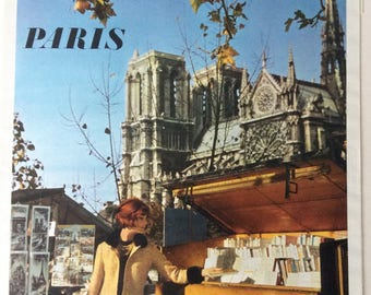 1960's French poster 'bouquinistes' Paris