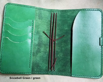 SNOWBELL Traveller's Notebook hand-stitched range. Midori, Field Notes, Moleskine, Rhodia, Stamford. Passport/Pocket/A6/Regular/A5.