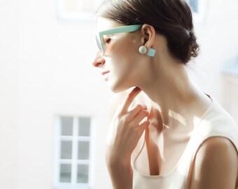 Minimal Earrings, Double Sided Earrings, Tribal Earrings, Double Pearl Earrings, Two Sided Earrings, Double Earrings, Geometric Earrings