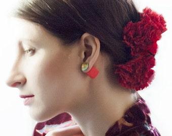 Ear Jacket, Unusual Earrings, Tango Clothing, Double Pearl Earring, Red Earring, Tribal Earring, Double Sided Earring, Square Earrings
