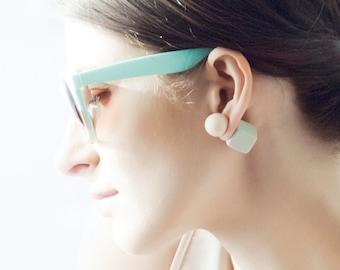 Tribal Earrings, Minimal Earrings, Double Sided Earrings, Double Pearl Earrings, Two Sided Earrings, Double Earrings, Geometric Earrings