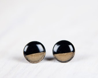 Gold Dipped Earrings,Dainty Studs, Black And Gold Studs, Minimalist Geometric Earrings, Black Earrings, Mens Earrings