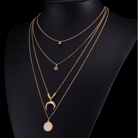 04142530c43b6 Crescent Moon Layered Necklace