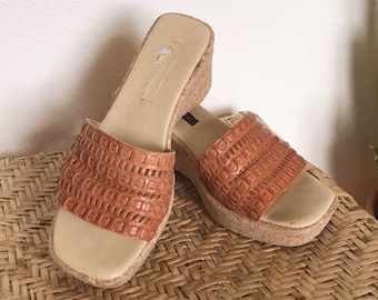 Brown Leather Wedges Boho Sandals Vtg 90s Woven Wedges Sesto Meucci Shoes Womens Size 8