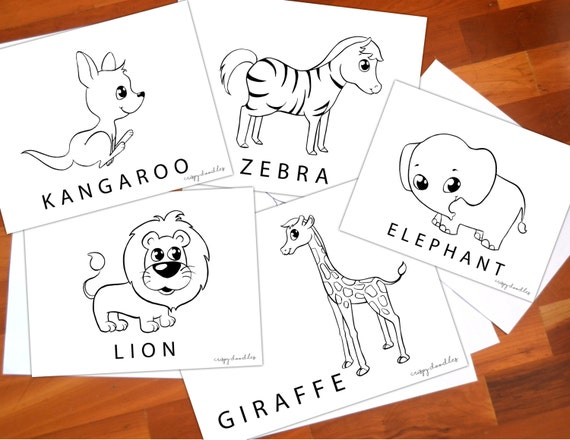 Wild animals coloring pages kids