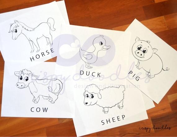 5 Malvorlagen für Kinder 5 Digital Downloads 5 Nutztiere