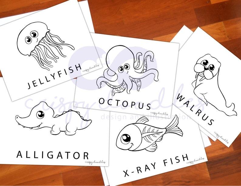Kleurplaten Dieren In Het Water.Water Dieren Kleurplaten Kwal Alligator Octopus X Ray Vis Etsy