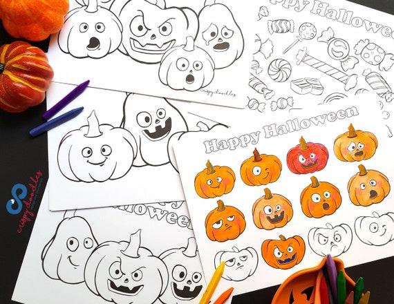 Halloween Coloring Pages Montessori Activity Preschool Etsy