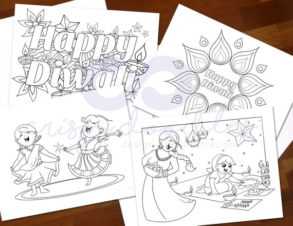 Diwali Coloring Pages From the Book: Lights, Camera, Diwali ... | 440x570