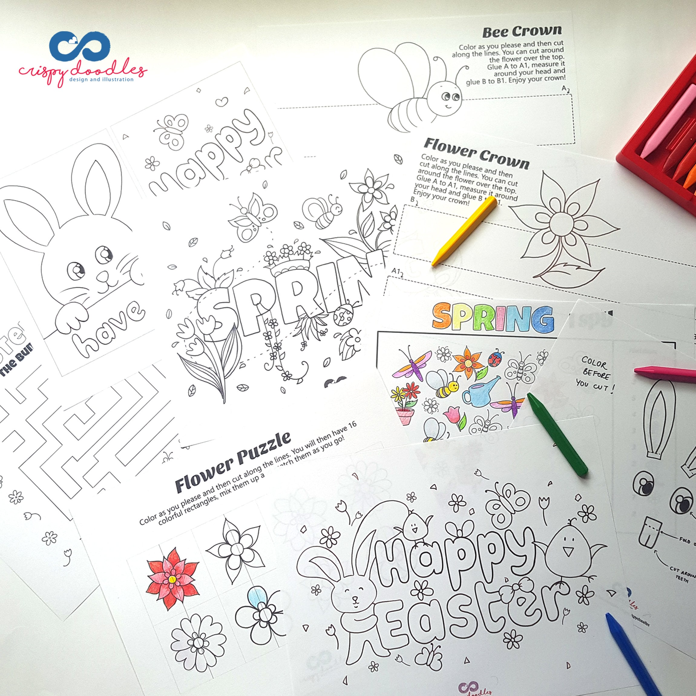 Easter and Spring Coloring, puzzles, maze and more