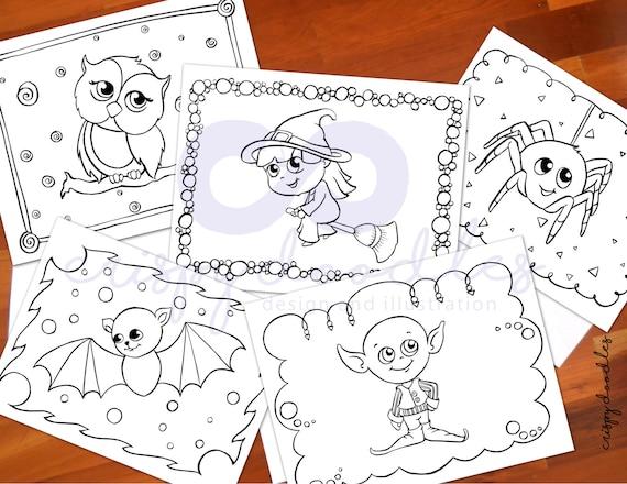 Página para colorear para niños Halloween bruja duende