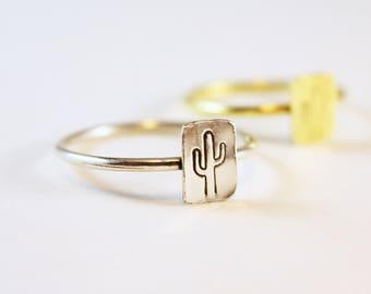 Desert Cactus Rings in Brass or Silver