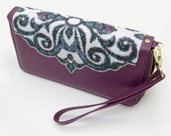 PATTERN for Even Count Peyote and Brick stitch combo beaded overlay for clutch or wallet. DIGITAL DOWNLOAD.