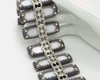 PATTERN for Madrepearl Mother of Pearl Filigree Bracelet.  DIGITAL DOWNLOAD.