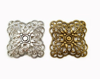 One piece of Silver or Brass Filigree for Square Filigree Bracelet Pattern