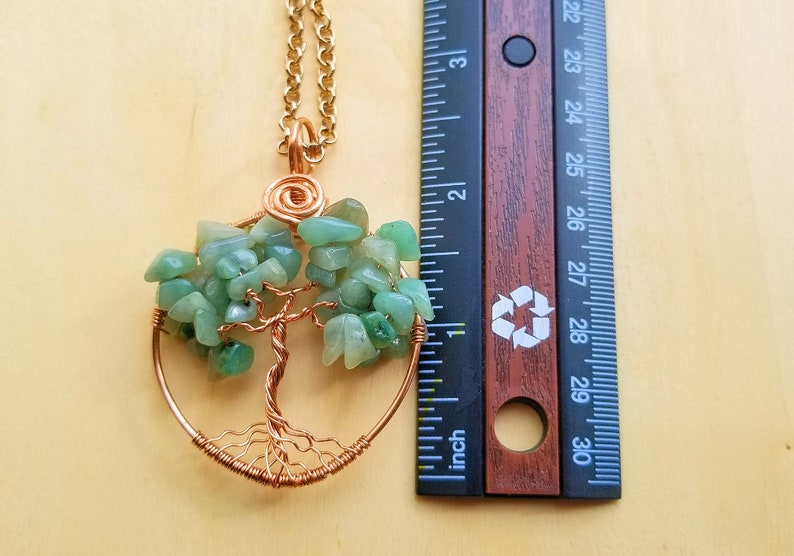Green Aventurine Tree Pendant wrapped with copper wire Gaelic woodland jewelry Gift for Pagan friend. Irish Tree of Life necklace