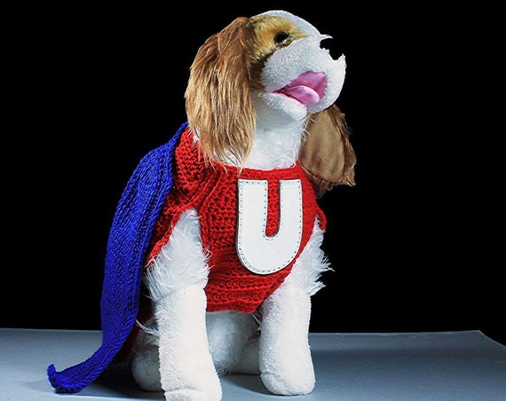 Underdog Pet Costume, Fits 12-22 lb. Pet, Pet Sweater, Superhero, Crochet, Hand Tooled Leather, Photo Prop, Halloween Costume