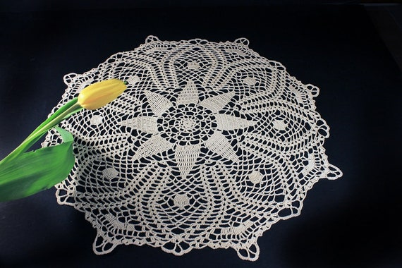 Crochet Doily, Ecru, Natural, Cotton,  21.5 inches, Round, Fine Art Crochet, Table Mat, Centerpiece, Handmade