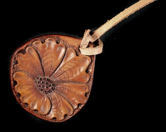 Leather Handbag Charm, Zipper Pull, Hand Tooled Leather, Flower, Purse Accessory, Adornment, Decoration