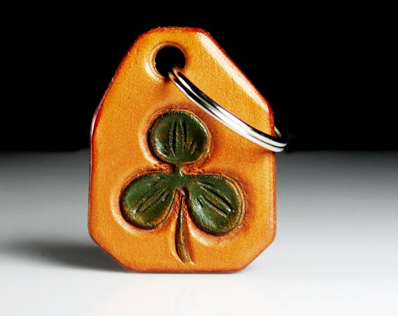 Leather Keychain, Hand Tooled Leather,  Shamrock Keychain, Purse Accessory, Zipper Pull, Adornment, Decoration