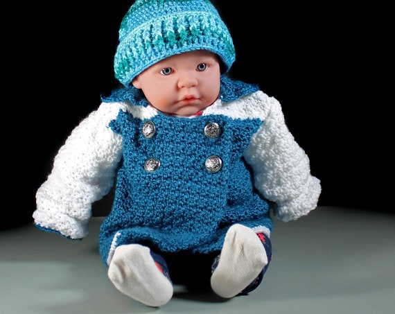 Crochet Baby Sweater, Baby Cardigan, Baby Clothing, 0 to 3 Months, Baby Gift, Teal and White