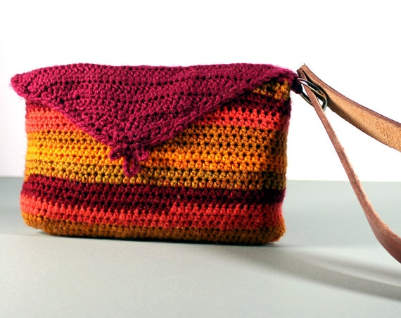 Wristlet Handbag, Leather Interior, Crochet, Original Design, Magnetic Closure