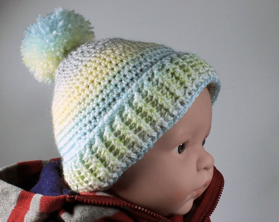 Winter Baby Hat, Crochet, Unisex Baby Hat, Handmade, Infant Winter Hat, 0-3 months, Baby Shower Gift, Pull On Hat, Multicolor
