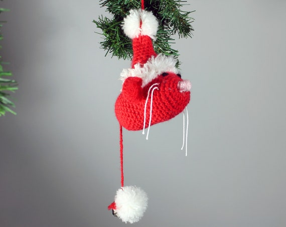 Mouse Christmas Ornament, Santa Suit, Crochet, Red and White Decoration, Holiday Decor