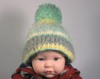 Winter Baby Hat, Crochet, Unisex Baby Hat, Handmade, Infant Winter Hat, 0-3 months, Baby Shower Gift, Pull On Hat, Multicolor